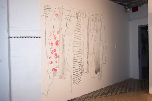 Senior show, large site specific clothing drawing